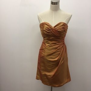 Jordan orange iridescent ruched strapless gown
